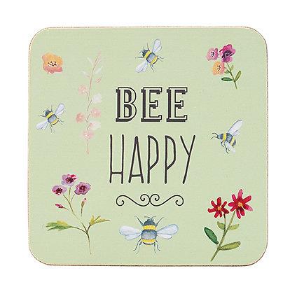 Bee Happy 4 pk Coasters - Cork backed