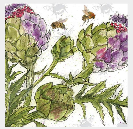 Artichoke - Bee-tannicals Greeting Card by Sarah Boddy