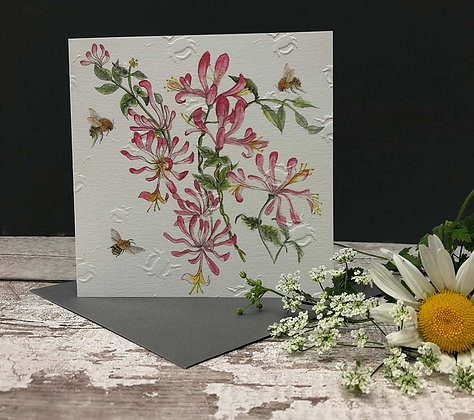 Honeysuckle - Bee-tannicals Greeting Card by Sarah Boddy