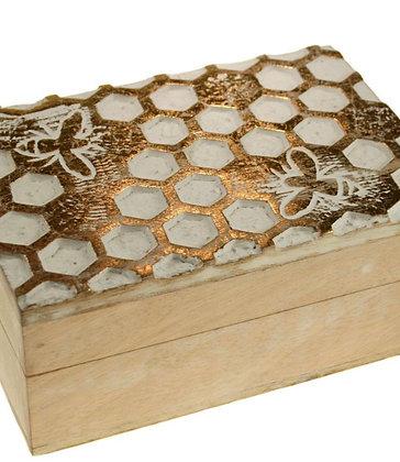 Jewellery/trinket box, mango wood honeycomb