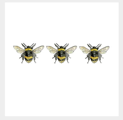 3 Bumble Bees Greeting Card by Sarah Boddy