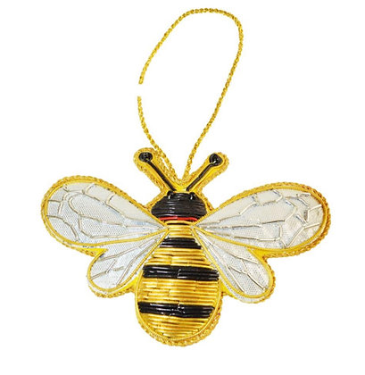 Hanging decoration, embroidered velvet, bee
