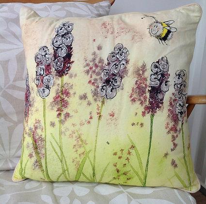 Lavender & Bees Cushion by Alex Clark