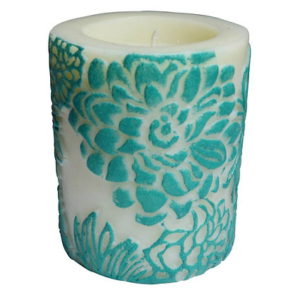 Candle Japanese chrysanthemum aqua + white, 7.5cm recessed