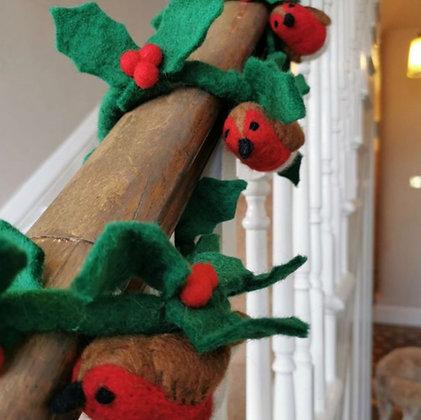 Handmade Felt Biodegradable Holly Garland with Robins Christmas Decoration