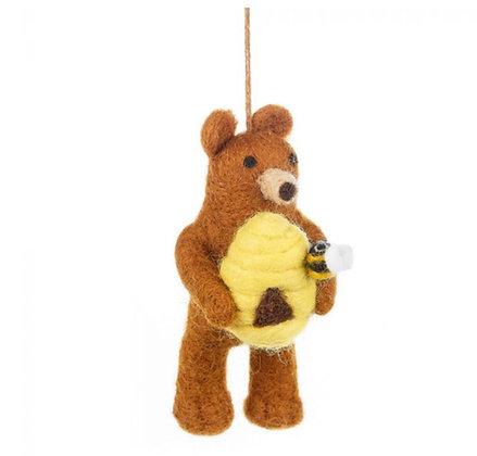Handmade Felt Honey Bear Hanging Decoration