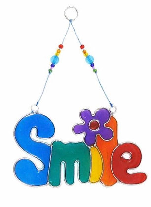 Suncatcher with beads SMILE