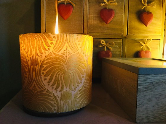 Candle Lotus Flower Gold + white, 10cm recessed