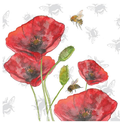 Poppy - Bee-tannicals Greeting Card by Sarah Boddy
