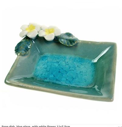 Soap dish, blue glaze, with white flower 11x7.5cm