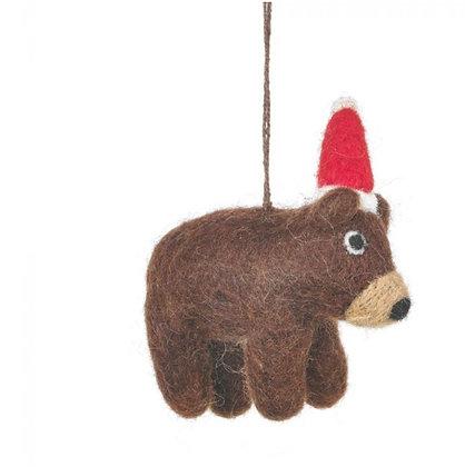 Handmade Felt Wally the Festive Bear Hanging Christmas Decoration