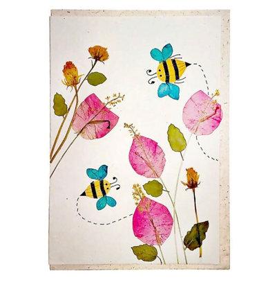 Handmade card, bees & flowers