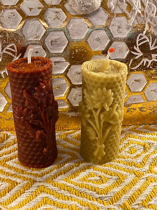 100% Beeswax Candles -Tower with Flowers