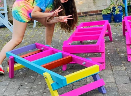Rainbow Coloured Hive Stands!!