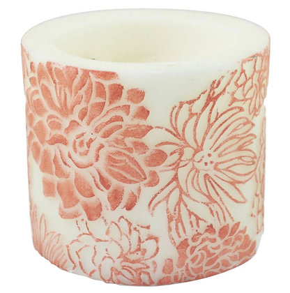 Candle Japanese Chrysanthemum in Ombre & White, 10cm recessed