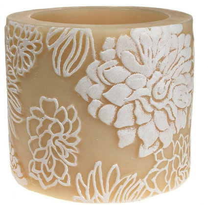Japanese Chrysanthemum Candle in white + ivory, 10cm recessed