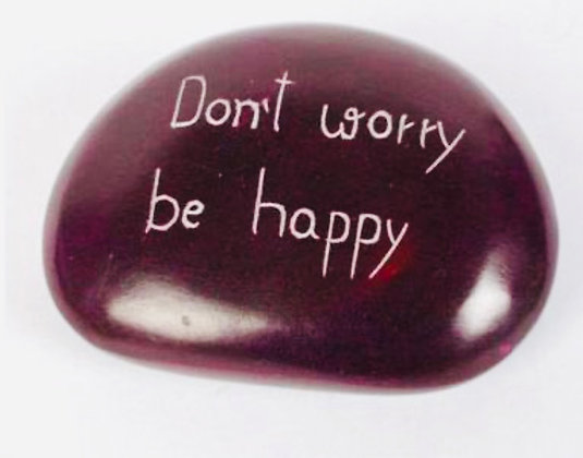 Paperweight purple Don't worry be happy