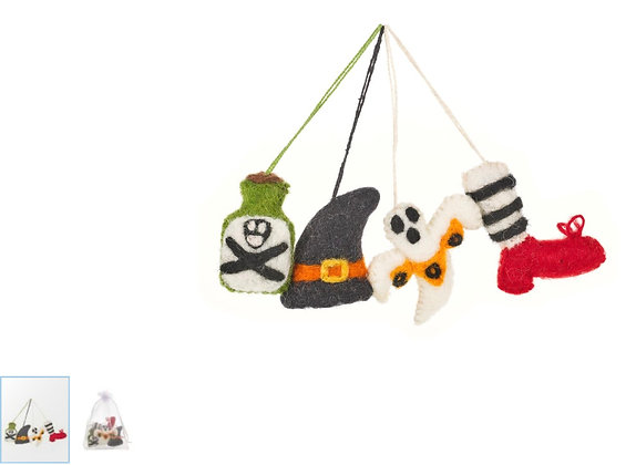 Handmade Felt Halloween Tricks (Set of 4) Hanging Felt Decorations