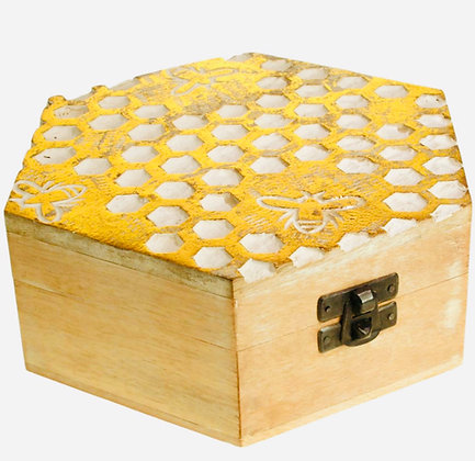 Hexagonal jewellery/trinket box, mango wood honeycomb