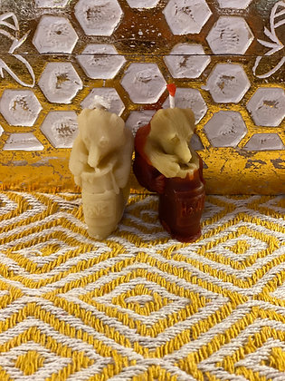 100% Beeswax Candles - Small Bear Cool Bear with honeypot!