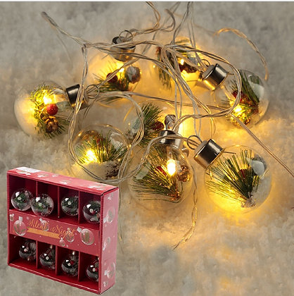 Glass Christmas LED Baubles Fairy String Lights