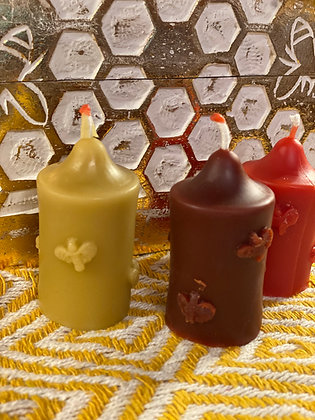 100% Beeswax Candles - Small Tower with Bees