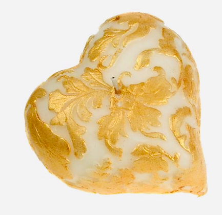 Candle heart white + gold