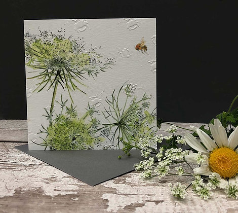 Cow Parsley - Bee-tannicals Greeting Card by Sarah Boddy