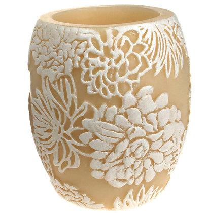 Candle Japanese chrysanthemum white + ivory, 10cm hurricane