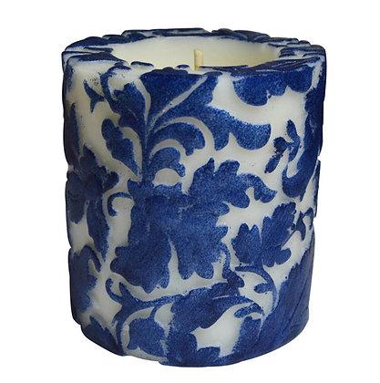 Candle Damask Leaf Blue + white, 7.5cm recessed