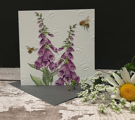 Foxglove - Bee-tannicals Greeting Card by Sarah Boddy
