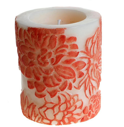 Candle Japanese chrysanthemum Ombre + white, 7.5cm recessed