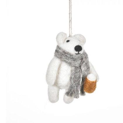 Handmade Needle Felt Drinkin' Polar Bear Hanging Christmas Decoration