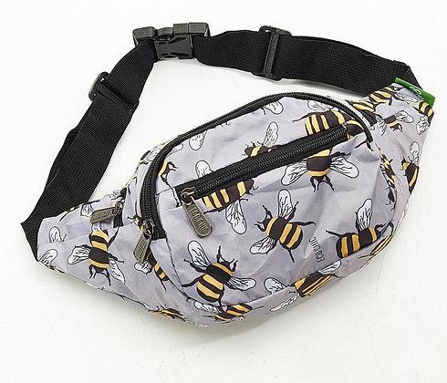 Grey Eco Chic Lightweight Foldable Bee Bum Bag