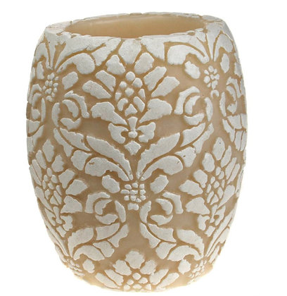 Candle Pineapple Damask Leaf white + ivory, 10cm recessed