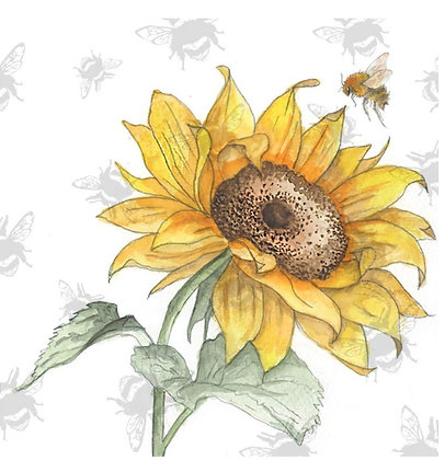 Sunflower - Bee-tannicals Greeting Card by Sarah Boddy