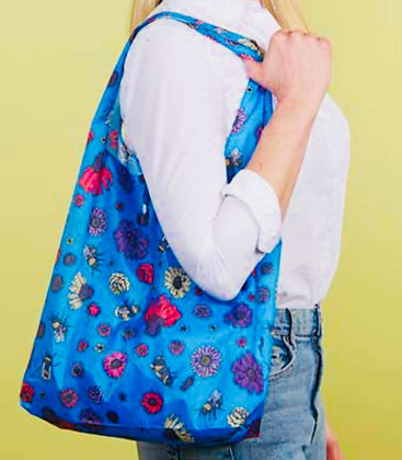 Eco Chic - Blue Bees & Flowers Foldaway Shopper