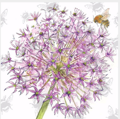 Allium - Bee-tannicals Greeting Card by Sarah Boddy