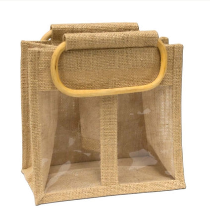 Jute 2 Window Gift Bag - Large