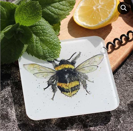 Bumble Bee Glass Coaster by Sarah Boddy