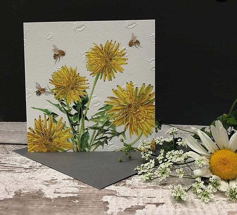 Dandelion - Bee-tannicals Greeting Card by Sarah Boddy