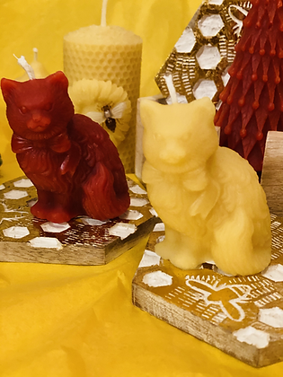 100% Beeswax Candles - Cute Cat with Bow