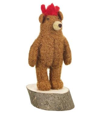 Handmade Felt Brown Bear on Wooden Base Standing Decoration
