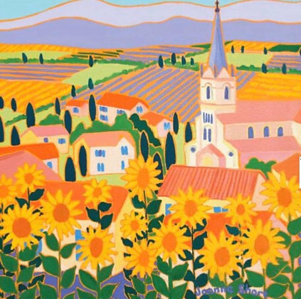 """""""View through Sunflowers, Bonnieux, Provence"""" Greeting Card"""