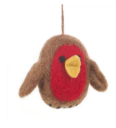 Handmade Felt Baby Robin Tree Hanging Decoration