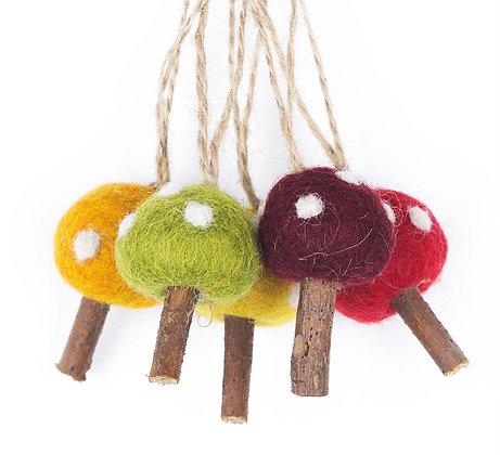 Handmade Hanging Mushrooms (Bag of 5) Autumnal Biodegradable Decoration