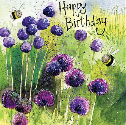 Alliums Bee Garden Birthday Card