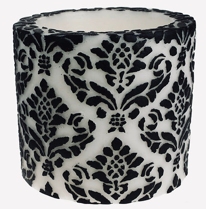 Candle Pineapple Damask Leaf Black + White, 10cm Recessed