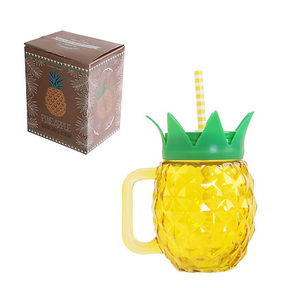Pineapple Glass Drinking Jar With Straw