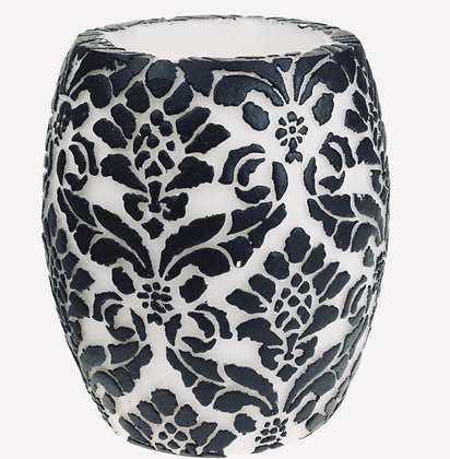 Candle Pineapple Damask Leaf Black + White, 10cm Hurricane